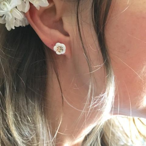 NATACHA PLANO Sakura: Pink / White Stud Earrings - MINT Organics
