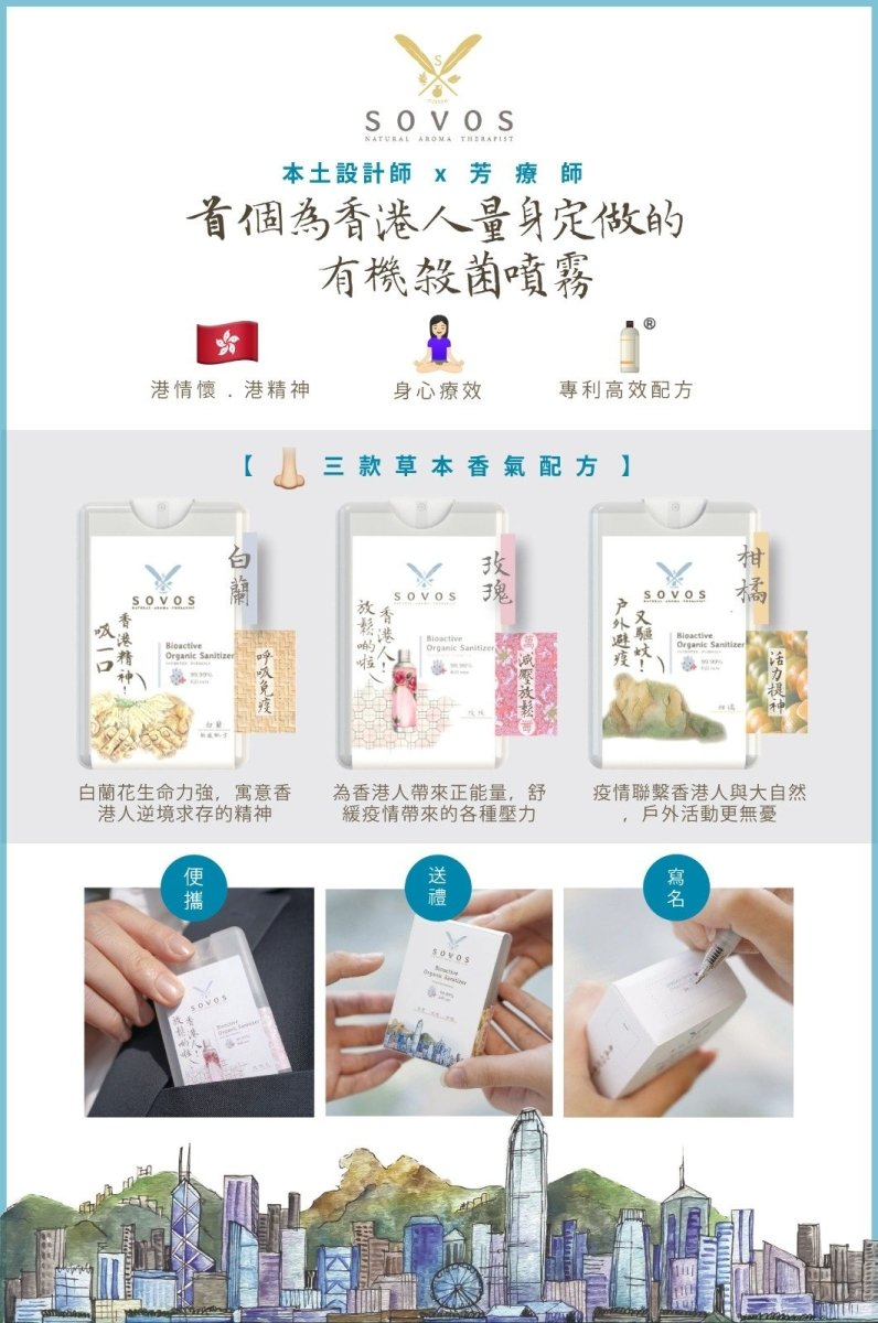 SOVOS Bioactive Organic Sanitizer Gift Set 心意便攜卡片噴霧禮盒 [20ml x 3pcs] - MINT Organics