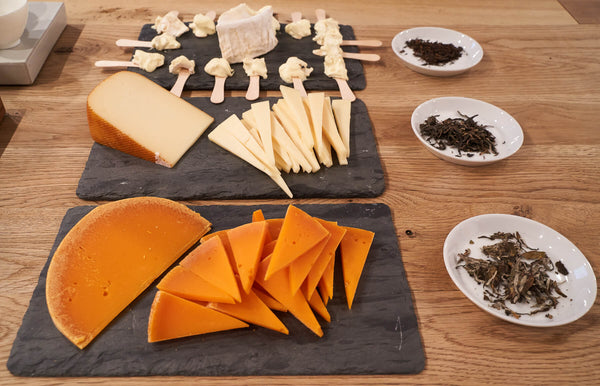 Aged Tea + Cheese Pairing with French Cheese Board
