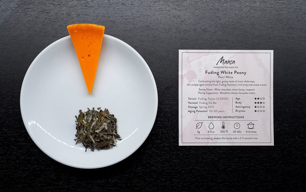 Mimolette cheese with Fuding White Peony Tea pairing