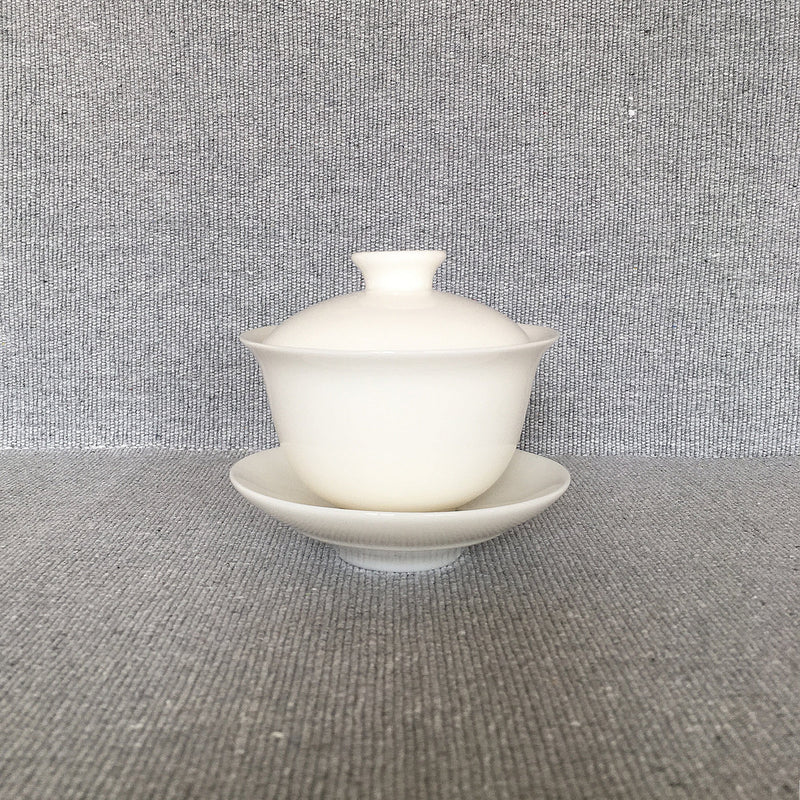 Front view of white procelain gaiwan