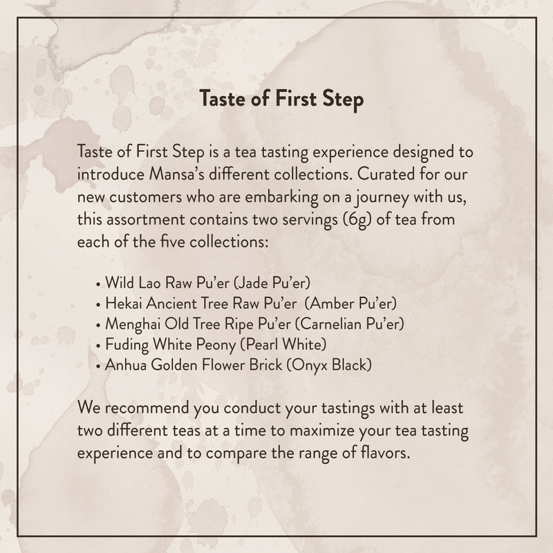 Mansa Tea | Vintage single-origin tea for modern tea drinkers | Gift sets | Taste of First Step - tea tasting assortment with aged pu'er and white tea | pu-erh tea gift set description