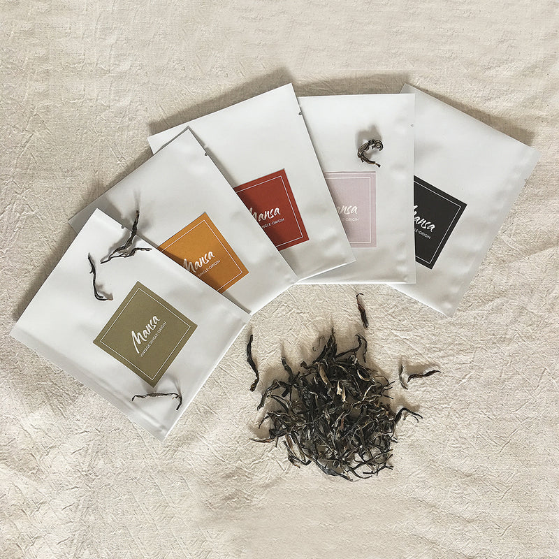 Mansa Tea | Mix and match samples | single-origin pu'er tea, single-origin pu-erh tea, raw pu'er, raw pu-erh, sheng pu'er, sheng pu-erh, ripe pu'er, ripe pu-erh, shou pu-erh, shou pu'er