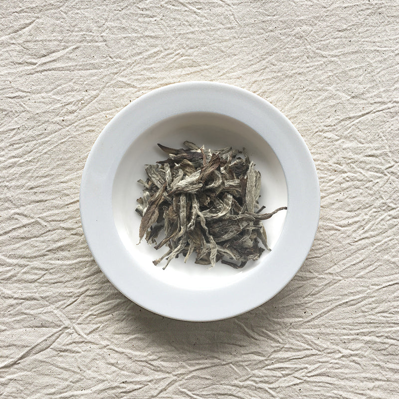 Mansa Tea | Pearl White | Fuding White Peony | high quality aged white tea from Fujian province - image of aged white tea on a plate