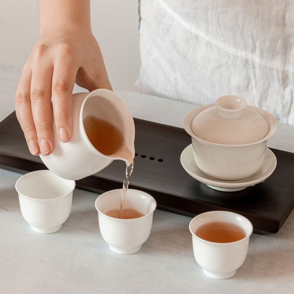 Porcelain teaware for gongfu brewing