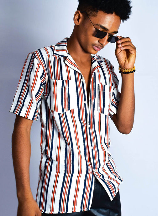Double Pocketed Chalk striped orange shirt - modfet.com
