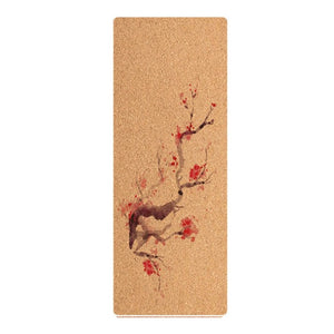 Eco-friendly Natural Cork Yoga Mat  in cherry blossom