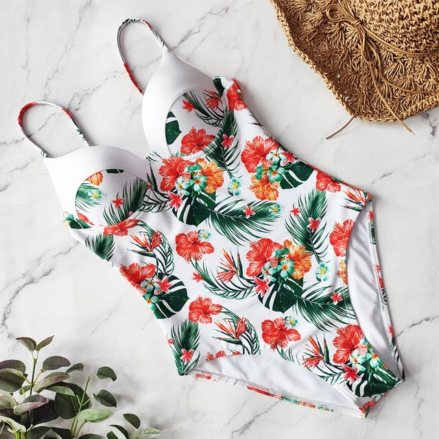 2020  Retro One Piece WomenS Floral Swimwear BY Verry Bad Bubble Gum in hibiscus