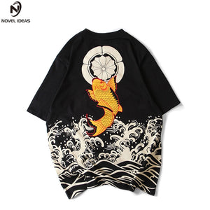 Wave Carp Hip-hop Full back print  summer T-shirt