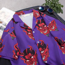 Load image into Gallery viewer, Devil purple Turn-down Collar  Shirt