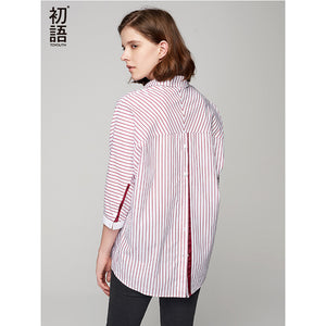 Striped Shirt three quarter Batwing Sleeve - modfet.com