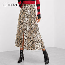 Load image into Gallery viewer, COLROVIE  Snake Skin Print Split Casual Skirt