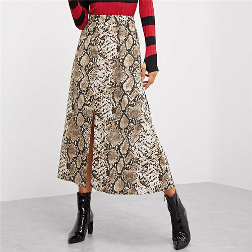 COLROVIE  Snake Skin Print Split Casual Skirt