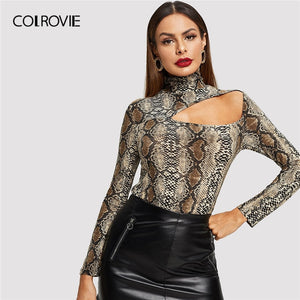 COLROVIE Cut Out Front Snake Skin Print Fitted Casual long T-Shirt