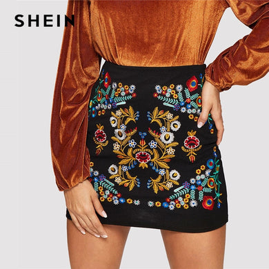 SHEIN Black Botanical Embroidered Textured Skirt