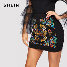 Load image into Gallery viewer, SHEIN Black Botanical Embroidered Textured Skirt