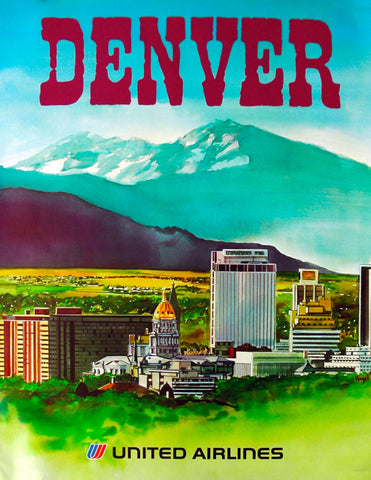 Vintage Airline Poster - Denver, United Airlines