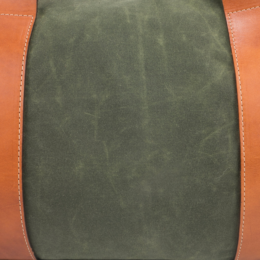 mens waxed green canvas weekender overnight bag