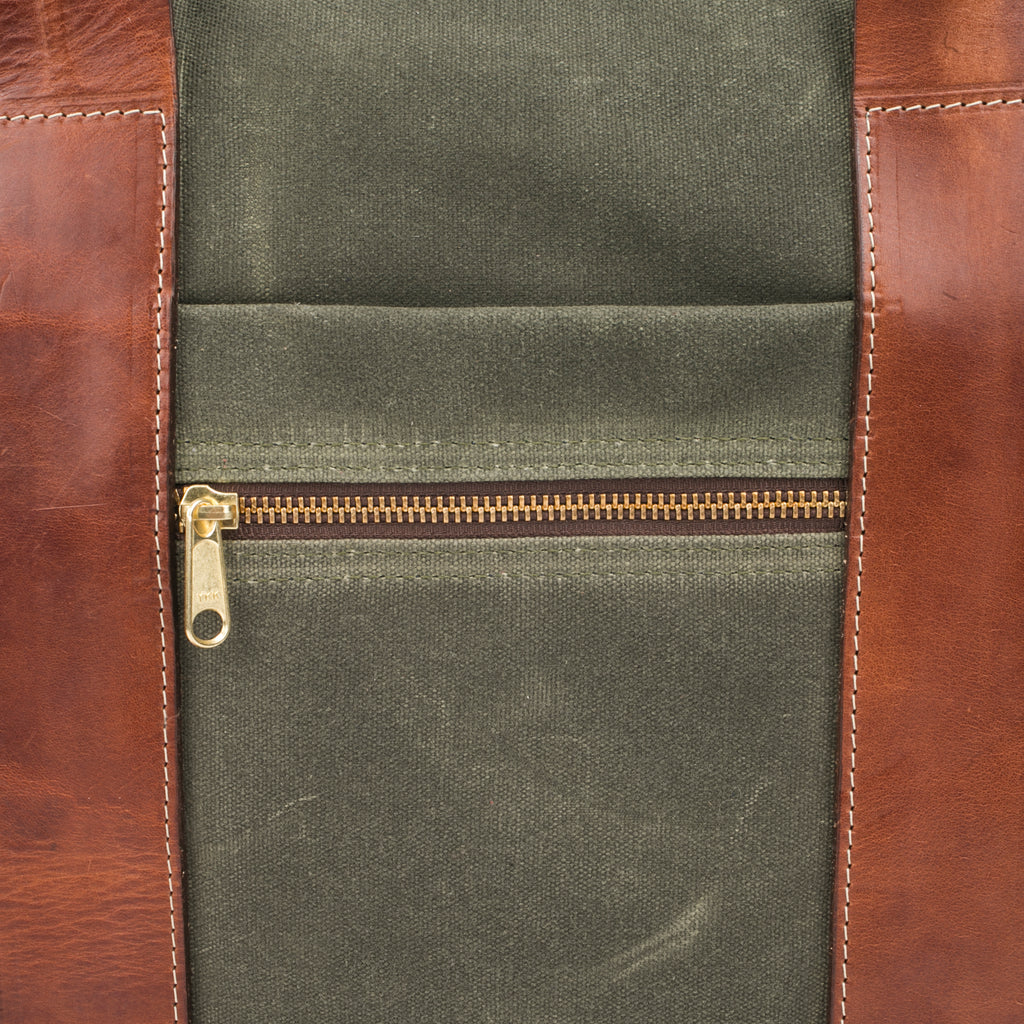 Green canvas briefcase