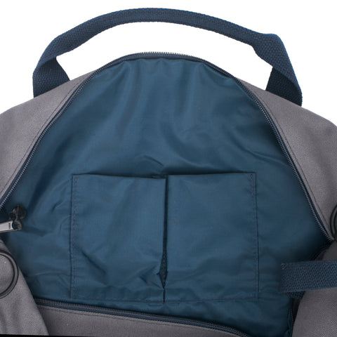 grey navy gym duffel bag