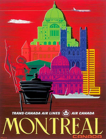 Vintage Airline Art - Air Canada Montreal