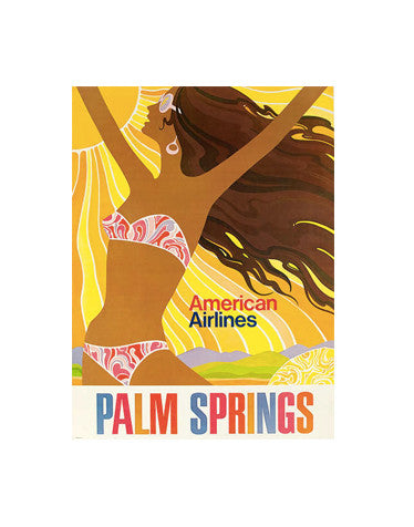Vintage Airline Poster - Palm Springs/American Airlines