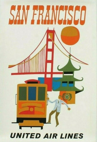 Vintage Airline Art - San Francisco, United Air Lines