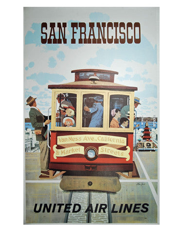 Vintage Airline Poster - San Francisco, United Airlies