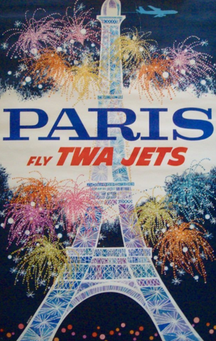 Vintage Airline Poster - Paris, TWA