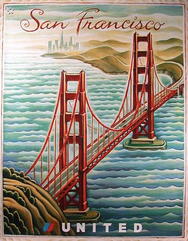 Vintage Airline Poster - San Francisco, United Airlines