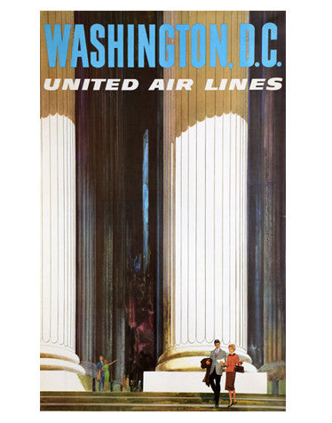 Vintage Airline Poster - Washington, D.C./United