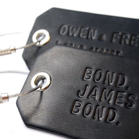 A Pair of Custom Black Luggage Tags