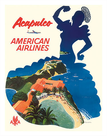 Vintage Airline Poster - American Airlines, Acapulco