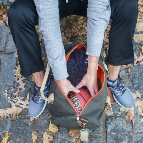 "Army Green ""Work Hard, Play Hard"" Duffel"
