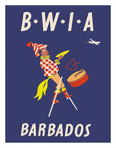 Vintage Airline Poster - Barbados/British West Indian Airlines