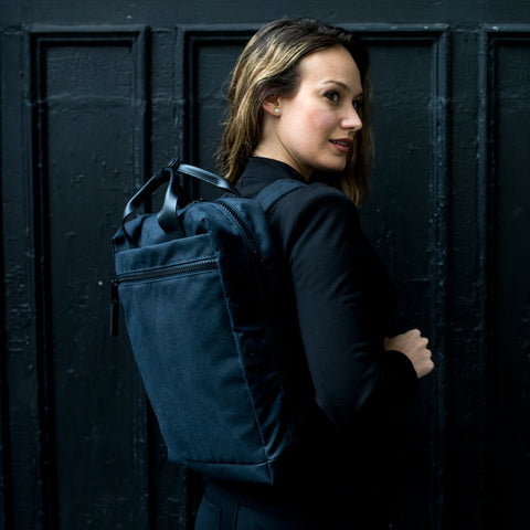women's black canvas backpack