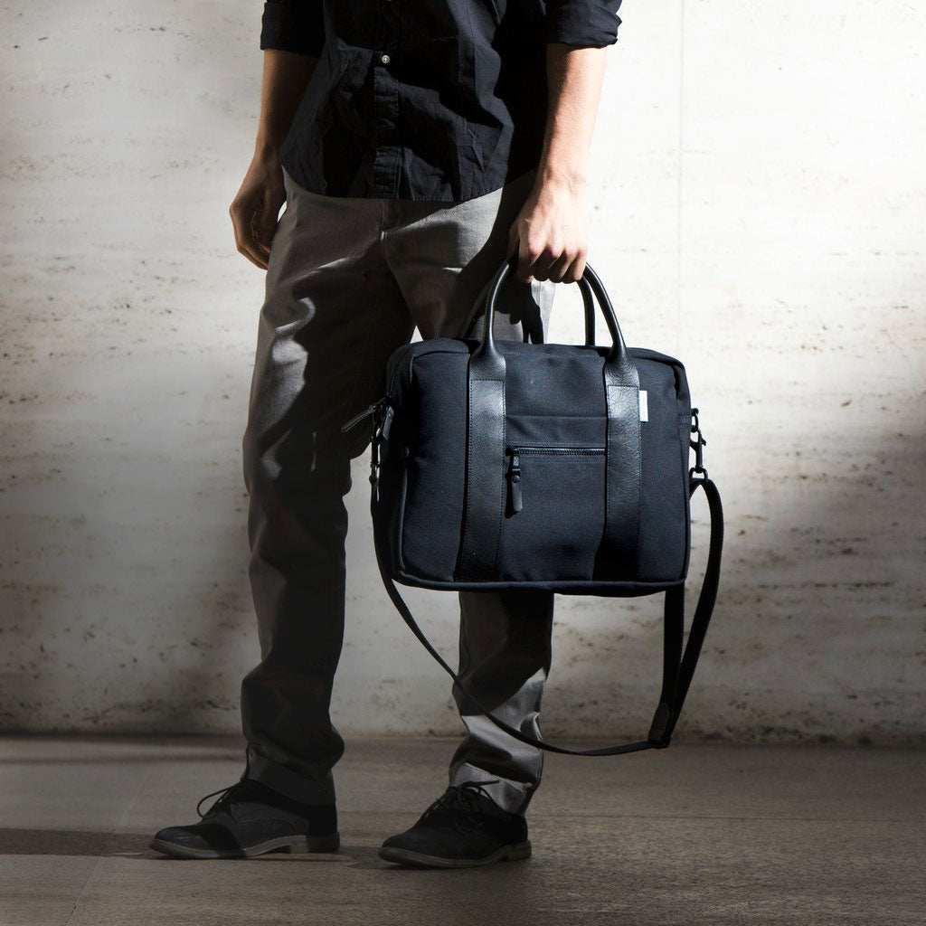 mens black briefcase canvas