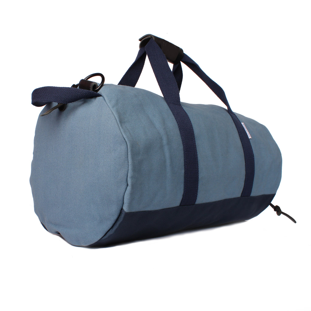 mens blue duffel bag side profile