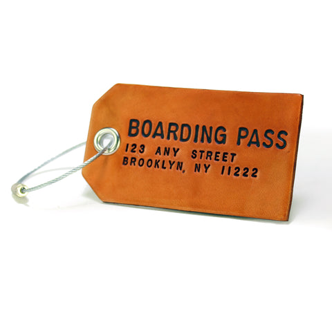Custom Brown Leather Luggage or Bag Tag