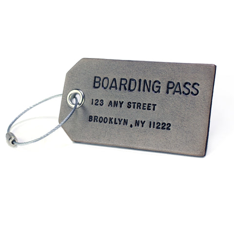 Custom Smoke Grey Leather Luggage Tag
