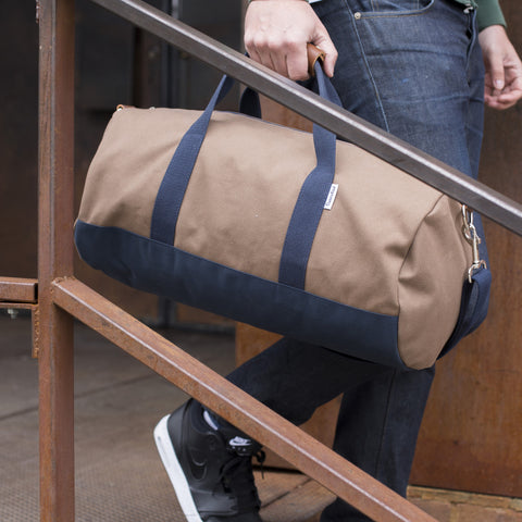 "Brown ""Work Hard, Play Hard"" Duffel"