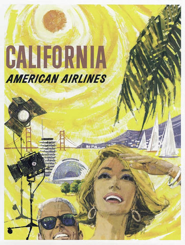 Vintage Airline Art - California, American Airlines