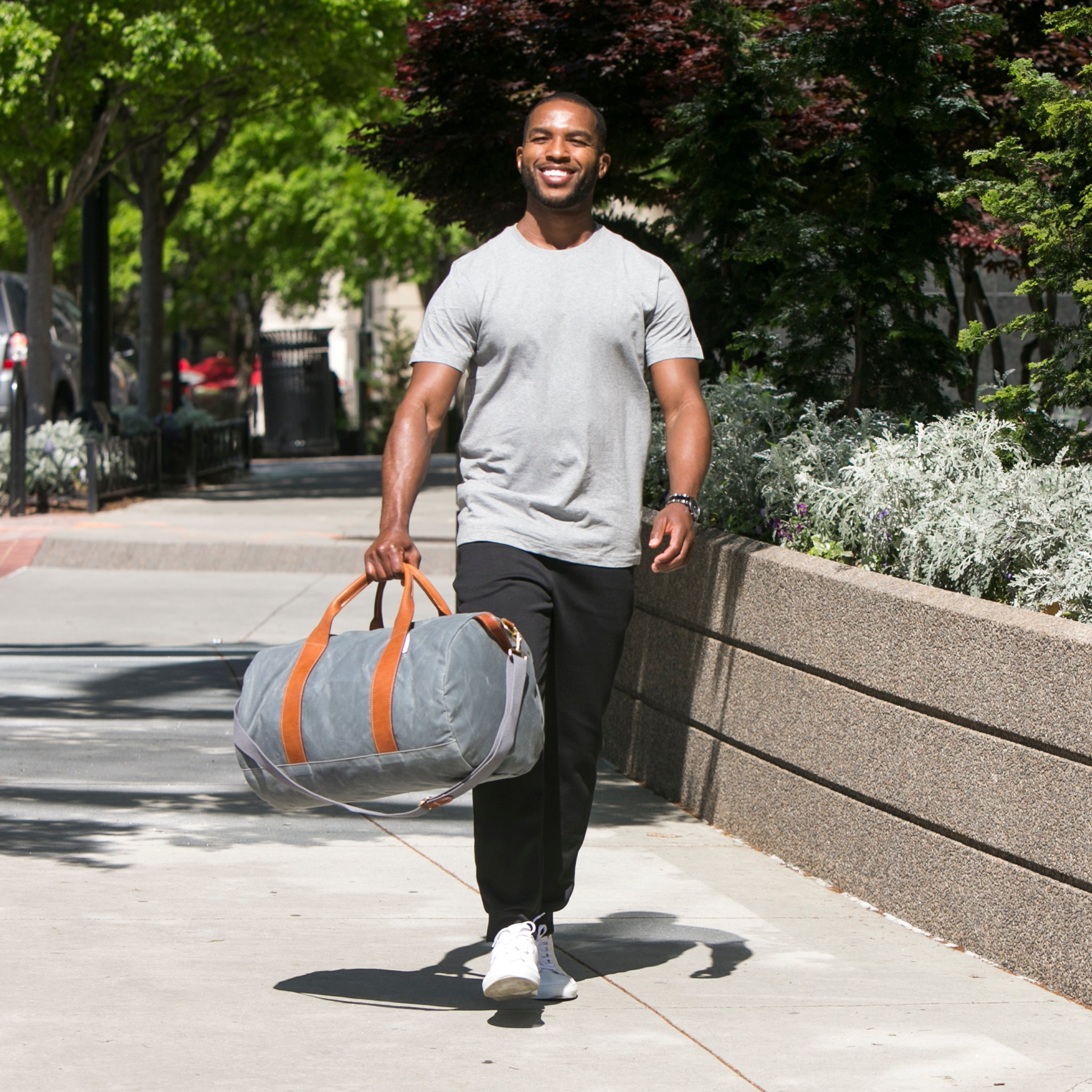 mens charcoal grey canvas weekender overnight bag