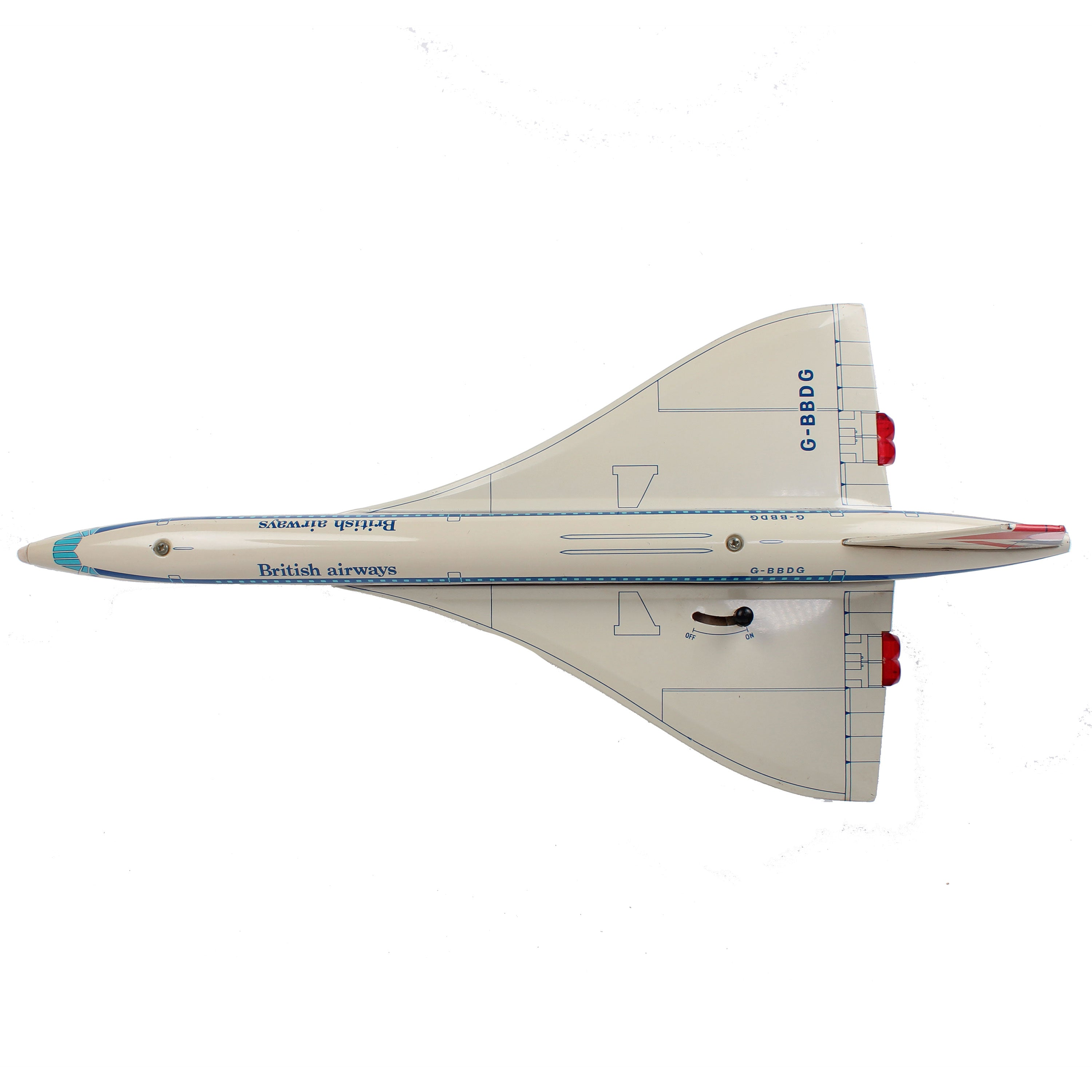 Vintage Motorized Concorde Toy Airplane