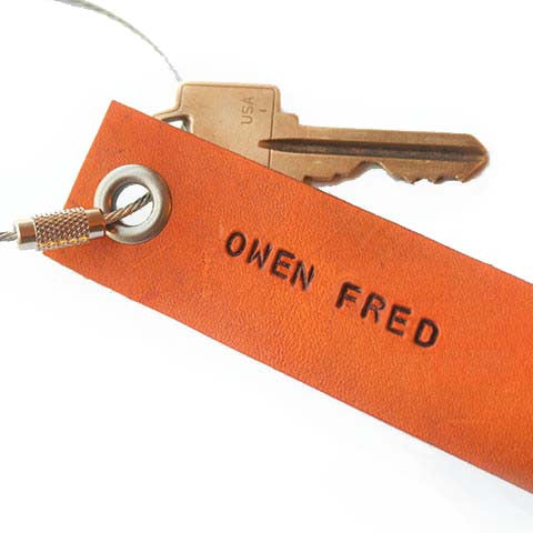 Custom Leather Keychain - Brown