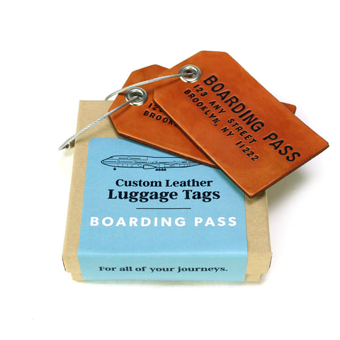 A Pair of Custom Brown Leather Luggage Tags