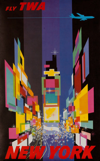 Vintage Airline Poster - Times Square, by David Klein - Small Version