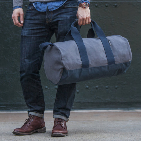 "Grey and Navy ""Work Hard, Play Hard"" Duffel"