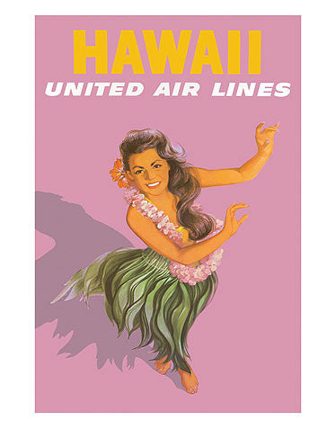 Vintage Airline Poster - United Airlines, Hawaii