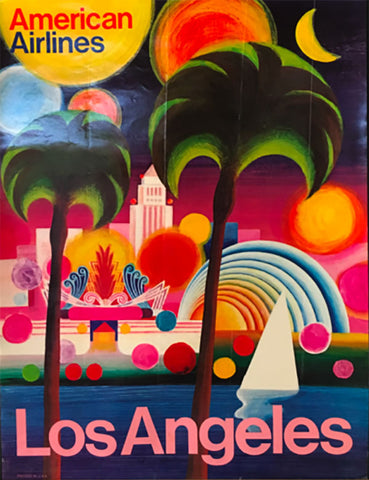 Vintage Airline Art - Los Angeles, American Airlines